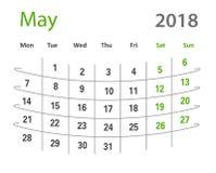 calendrier créatif de mai de la grille 2018 originale drôle Images libres de droits