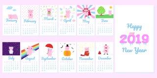Calendrier 2019 créatif mensuel avec le caractère porcin rose mignon de porc illustration libre de droits