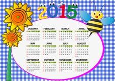 calendrier 2015 d'abeille Photo libre de droits