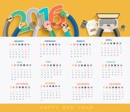 Calendrier 2016 d'affaires de vecteur Image libre de droits