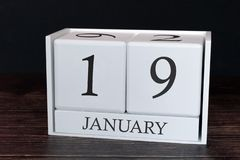 Calendrier d'affaires pour janvier, 19ème jour du mois Date d'organisateur de planificateur ou concept de programme d'événemen illustration stock