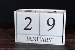 Calendrier d'affaires pour janvier, 29ème jour du mois Date d'organisateur de planificateur ou concept de programme d'événemen photo stock