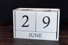 Calendrier d'affaires pour juin, 29ème jour du mois Date d'organisateur de planificateur ou concept de programme d'?v?nements photo libre de droits