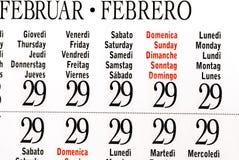 Calendrier d'année bissextile, février Images libres de droits