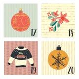Calendrier d'avènement avec les illustrations tirées par la main de vacances de Noël de vecteur pour le 17 décembre - 20ème Chand illustration libre de droits