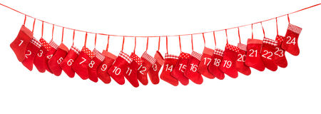 Calendrier 1-24 d'avènement Décoration rouge de bas de Noël Photo stock