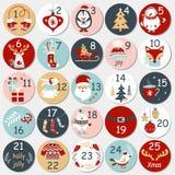 Calendrier d'avènement de Noël avec les éléments tirés par la main Affiche de Noël Photo stock