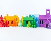 Calendrier d'av?nement pour la couleur d'arc-en-ciel de b?b? Entaille de papier d'arbre de Chambre et de Noël photo stock