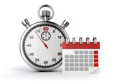 calendrier 3d et chronomètre Images stock