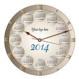 calendrier d'horloge de 2014 classiques Photo libre de droits