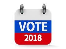 Calendrier 2018 d'icône d'élection de vote illustration libre de droits