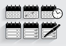 Calendrier d'icônes de vecteur dans le style noir et blanc Illustration Stock