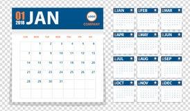calendrier 2018 dans les autocollants de papier avec le style d'ombre Bleu et orange Photos stock