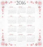 Calendrier de 2016 : année complète sur le fond artistique gris Photographie stock libre de droits