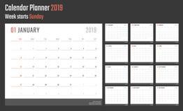 calendrier de 2019 ans, conception de calendrier pour 2019 débuts dimanche Photographie stock