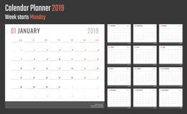 calendrier de 2019 ans, conception de calendrier pour 2019 débuts lundi Photo libre de droits