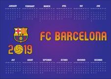 Calendrier 2019 de Barcelone FC en anglais image libre de droits