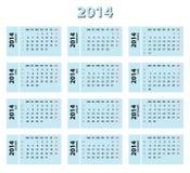 calendrier de 2014 bleus Photos libres de droits
