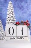 Calendrier de bloc en bois de nouvelle année Photo libre de droits