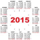 Calendrier de bureau 2015 heures Photographie stock libre de droits