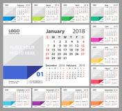 Calendrier de bureau 2018 La semaine commence dimanche Ensemble de 12 mois illustration stock
