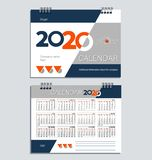 Calendrier de bureau pour 2020 descripteur illustration stock