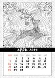 Calendrier de cerfs communs de Noël, calendrier année en avril 2019 illustration libre de droits