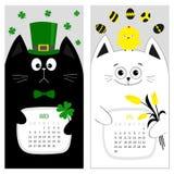 Calendrier 2017 de chat Jeu de caractères drôle mignon de bande dessinée Mois de ressort de mars avril Images libres de droits