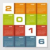 Calendrier de conception simple calibre de conception de vecteur de 2016 ans Photo libre de droits