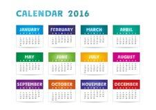Calendrier 2016 de couleur Images stock
