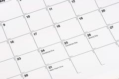 Calendrier de décembre Image stock
