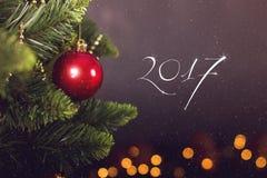 Calendrier de décoration de Noël de carte de voeux Photographie stock libre de droits