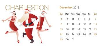 Calendrier de 2019 danses décembre Santa Claus barbue et deux filles d'aileron portant des vêtements de Noël dansant Charleston illustration libre de droits