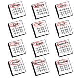 calendrier de douze mois Photos libres de droits