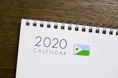 Calendrier de drapeau de Djibouti le 2020 photographie stock libre de droits