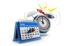 Calendrier de jour d'impôts avec l'alarme Images libres de droits