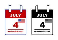 Calendrier de Jour de la Déclaration d'Indépendance Images stock