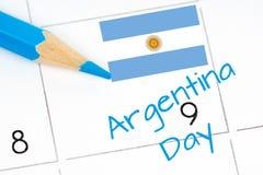 Calendrier de Jour de la Déclaration d'Indépendance de l'Argentine Images libres de droits