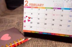 Calendrier de jour de Valentine's image stock