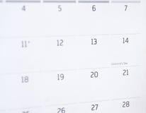 Calendrier de jour de valentines Image stock