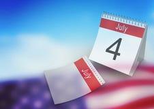 Calendrier de juillet contre le drapeau américain Photos stock