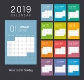 Calendrier de l'année 2019 illustration stock