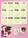 Calendrier de l'année prochaine avec des raisins et le vin Photographie stock libre de droits