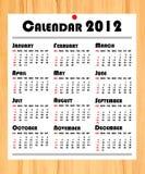 Calendrier de l'an neuf 2012 sur le panneau en bois Images libres de droits