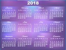 Calendrier de l'ultraviolet 2018 avec de grands nombres Photographie stock libre de droits