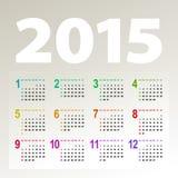 Calendrier de Minimalistic 2015 Images libres de droits