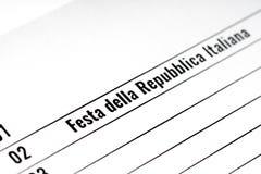 Calendrier de papier de Jour de la Déclaration d'Indépendance de l'Italie Images libres de droits
