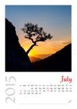 Calendrier de photo avec le paysage minimaliste 2015 Photographie stock libre de droits