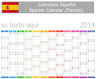 Calendrier de planificateur de 2014 Espagnols avec des mois verticaux Images libres de droits
