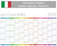 Calendrier de planificateur de 2014 Italiens avec des mois verticaux Photographie stock libre de droits